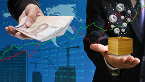 Businessman buy property with Bubble economy Stock Images