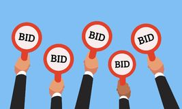 Buyers hands raising auction bid paddles with numbers of competitive price. Auction business bidders raise hand vector. Businessman buyers hands raising auction Royalty Free Stock Photography