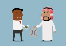 Businessman buying oil jerrycan from arab. Global market of oil resources, sale transaction, international business theme. Smiling cartoon arab businessman Stock Photo