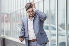 Businessman c wallet, failure, crisis in urban district Stock Photography
