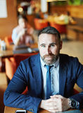 Businessman in café Royalty Free Stock Photography