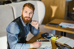 Businessman in cafe Stock Photo