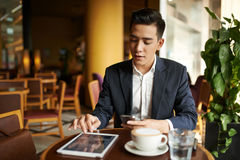 Businessman in cafe Stock Photography