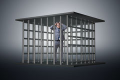 The businessman in the cage business concept Royalty Free Stock Photo