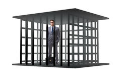 The businessman in the cage isolated on white Stock Photography