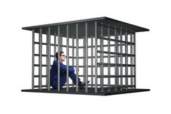 The businessman in the cage isolated on white Stock Photos