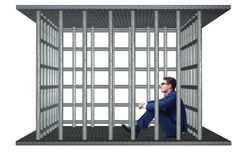 The businessman in the cage isolated on white Stock Photo