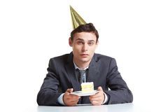 Businessman with cake Stock Photos