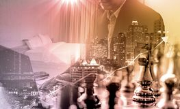 Businessman calculating budget before signing real estate project contract .double exposure style house polygon line. royalty free stock photos