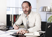 Businessman calculating finance Royalty Free Stock Photography