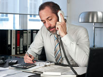 Businessman calculating finance Stock Image