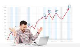Businessman calculating stock market with rising graph in the ba Royalty Free Stock Photography