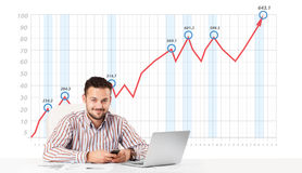 Businessman calculating stock market with rising graph in the ba. Young businessman calculating stock market with rising graph in the background Royalty Free Stock Images