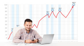Businessman calculating stock market with rising graph in the ba. Young businessman calculating stock market with rising graph in the background Stock Image
