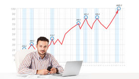 Businessman calculating stock market with rising graph in the ba. Young businessman calculating stock market with rising graph in the background Stock Images