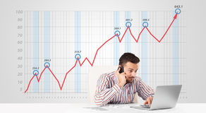 Businessman calculating stock market with rising graph in the ba Royalty Free Stock Photos