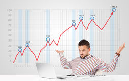 Businessman calculating stock market with rising graph in the ba Stock Images