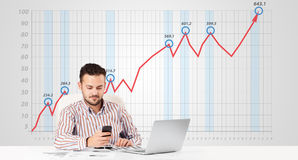Businessman calculating stock market with rising graph in the ba Royalty Free Stock Image