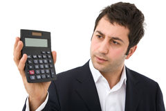 Businessman with calculator Stock Photos