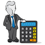 Businessman and calculator. Cartoon of businessman with a calculator. Financial concept Royalty Free Stock Images