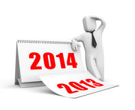 Businessman with calendar. New year for business. Separated on white Royalty Free Stock Photos