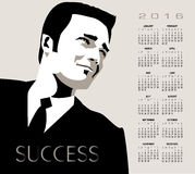 2016 businessman calendar. A young, handsome, successful businessman in this 2016 calendar Stock Image