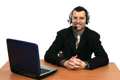 Businessman in callcenter Royalty Free Stock Photos