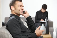 Businessman calling Stock Photography