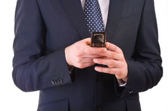 Business man calling by cell phone. Royalty Free Stock Image