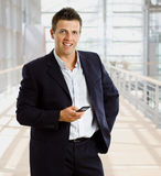 Businessman calling on mobile phone Royalty Free Stock Photos