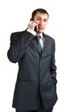 Businessman calling by phone Royalty Free Stock Photos