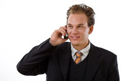 Businessman calling on phone Stock Image
