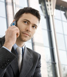 Businessman calling on phone Stock Images