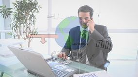 Businessman calling on the phone. Digital composite of a businessman calling on the phone with a process flowchart on the foreground stock video