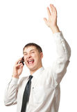 Businessman calling by phone and rising up hand Royalty Free Stock Photo