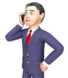 Businessman Calling Represents Render Talking And Entrepreneurs 3d Rendering Royalty Free Stock Image
