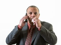 Businessman calling in sick Royalty Free Stock Photos