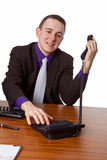 Businessman calling up Stock Photo