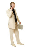 Businessman calls. Businessman calls on white background Royalty Free Stock Image