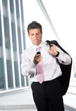 Businessman calls on mobile Stock Photo
