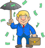 Businessman came under the rain of money Royalty Free Stock Photo
