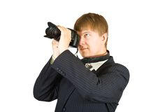 Businessman with camera Royalty Free Stock Photo