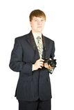 Businessman with camera Royalty Free Stock Image