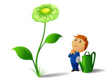 Businessman with can and green dollar flower plant Stock Photography