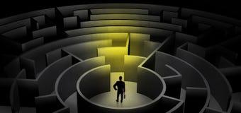 Businessman choosing between entrances in a middle of a dark maze vector illustration