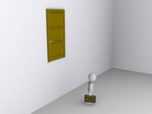 Businessman can not reach door to exit. 3d businessman looks up at door high on the wall Royalty Free Stock Photos