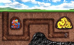 Businessman can't get treasure underground Stock Photos