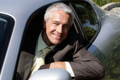Businessman in car Stock Photo