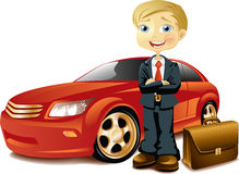 Businessman with a car Stock Images