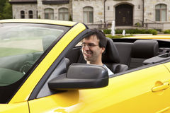 Businessman in a car Stock Image